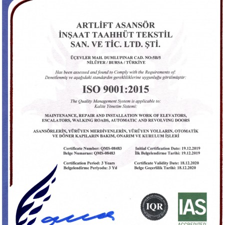<strong>ISO 9001:2015 </strong> Belgesi